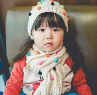 Wholesale Children Fleece Hat Scarf Wholesale - Kids Clothes Fleece Balls Knitting Hats Scarf Set Cute Girls Winter Children Clothing Hat Scarfs Sets D6590