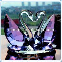 Wholesale 3 Colors Kissing Love K9 Purple Crystal Couple Swans For Unique Souvenir Gifts