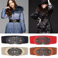 Wholesale Hot Sales Lady Women Waist Belts Buckles Waistband Metal PU Leather Elastic Stretch Vintage Carved IX239