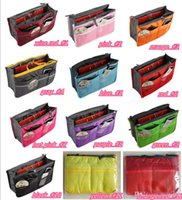 Wholesale 2016 Portable Double Zipper Bag Insert liner purse Organiser Handbag Women Travel Purse Pouch Bag in Bag Organizer Cosmetics Storage Y193