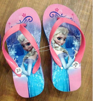 Wholesale Frozen children slipper kids girl Elsa cartoon summer beach sandals flip flop shoes Household shoes size JL