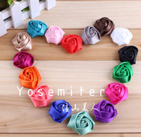 Wholesale Flat Back Mini Satin Ribbon Rose Flower Accessories Handmade Rolled Rosettes For Hair Clip Or Headband quot Colors IN STOCK