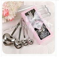 heart measuring spoons - 100Sets Hot sell Heart Measuring Spoons in Gift Pink box Wedding Souvenirs and gifts