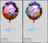 inflatable cartoon - New arrived psc a inch pig design cartoon foil balloon within stick cartoon aluminum balloon inflatable balloon