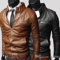 Wholesale Hot Sales Spring and winter men s jackets new regular coats of Faux Leather fashion zipper Men s Clothing