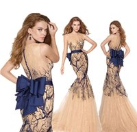 champagne tulle lace prom dress - Vintage Mermaid Tarik Ediz Prom Dresses Royal Blue Branch Embellished Crew Neck Lace With Huge Bow Champagne Tulle Evening Gowns