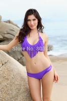 Cheap Audrey Fringe Bikini Women Sunny Bandeau Bikini Sexy Swimwear Suits Bikini Set comfortable fabric Blue Purple Bikini Set 49083