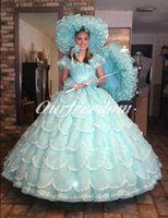 Wholesale Royal Princess Off The Shoulder Long Quinceanera Dresses Mint Green Ruched Tiered Ball Gown Back With Bow Weddng Party Gown Custom