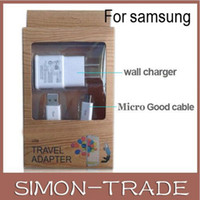 Wholesale 2 in Kits Wall Charger A with micro USB Cable Cord Charger power Adapter for S3 S4 S6 i9500 i9300 Note2 N7100