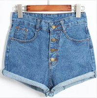 black jeans - new women fashion vintage retro street casual high waist button fly denim blue black cuff shorts jeans