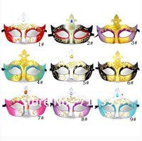 Wholesale Cheap Masquerade Ball Masks Mardi Gras Mask Halloween Party Masks Colorful Hallween Christmas Gifts