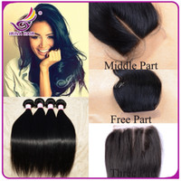 remy weave hair straight - Free middle way part top lace closure straight with Virgin Malaysian silky straight human hair weft soft remy straight weave