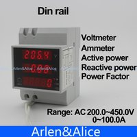 Wholesale Din rail LED range AC V A display voltmeter ammeter with active and reactive power and power factor Din rail