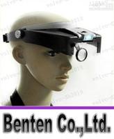 Cabeza LLFA7701 10X Lupa con luz LED dual del receptor de cabeza de la venda lupa de la lupa de aumento Lámparas Envío libre