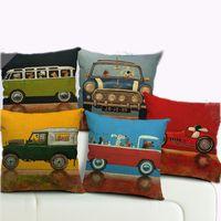 ar covers - Hot Sale Pillow Case Lovely Cartoon Dog Driving C ar Almofadas X45CM Linen Pillow Cover Christmas Decorative Linen