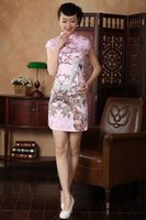 Wholesale Traditional Printed Chinese Dresses With Cap Sleeves High Collar Party Evening Dress Short Cheongsam Split Side Silk Chinese Style Gown