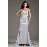 Cheap Custom-made ! 2015 Elegant A-Line Stretch Satin Strapless Sleeveless Beads Pleats Floor-Length Court Train Lace-up Wedding Dresses