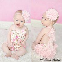 Wholesale Princess Lace Baby Bodysuit Infant Pant Overall Sleeveless Body Suit Baby Clothing Printed Flower Rose Backless Romper Photo Props SV023651