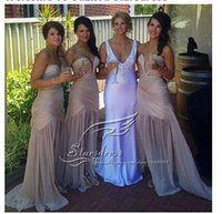 Cheap Wholesale-2015 Real Elegant Beautiful Charming Sheath Champagne Sweetheart Chiffon Ruched Bridesmaid Dresses Formal Bridal Prom gown