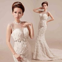 Cheap Real Model Mermaid Lace Wedding Gown High Collar Pearl Crystal Applique Mermaid Bridal Dresses For Bride Dress Backless Chapel Train 2015