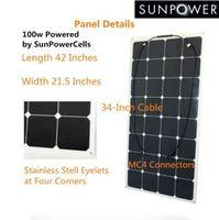 automobile companies - 100w Custom made black backing semi flexible solar panel for boats sail boat yacht