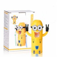Wholesale 3D Cartoon Despicable Me Minions Design Toothbrush Holder Cute Lovely Minions Automatic Toothpaste Dispenser with Brush Cup Christmas Gift