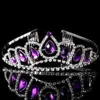 american bridal accessories - 5PCS Stunning Purple Rhinestone Tiara Headband Fine Alloy Metal Crown With Sliver Plated Hair Combs Bridal Accessories