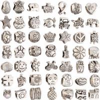 Alloy angels bracelets - Mix Colors Big Hole Loose Beads charm For Pandora DIY Jewelry Bracelet For European Beads set Accessories