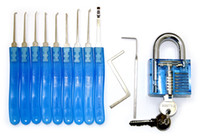 Wholesale Factory direct sale Blue Transparent lock Blue handle Piece lock pick set Locksmith Tool SYG