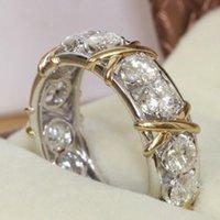 achat en gros de bandes de mariage d'or rempli de gros-Eternity Professional gros Diamonique CZ simulé diamant 10KT WhiteYellow mariage d'or Rempli Taille Band Croix Anneau 5-11