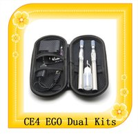 Wholesale Ego t double starter kits electronic cigarette CE4 atomizer clearomizer mah mah mah mah battery ego t battery ego dual kits