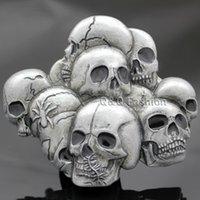 Wholesale Vintage Silver Western Multi Skull Head Skeleton Spider Belt Buckle Goth Biker Jewelry