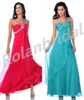 Cheap igh Quality A-line One-shoulder Ruched Beaded Evening Dresses Chiffon Zipper Prom Gowns Ruffle Formal 2015 Bridesmaid Dresses L0140