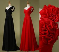 Cheap 2015 Cheap One Shoulder Chiffon Black Red Bridesmaid Dresses Handmade Flowers Long Beach Bridal Evening Party Prom Gowns In Stock