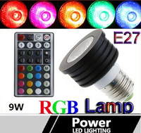 Wholesale 10PCS New W Colorful RGB LED Lamp E27 GU10 E14 B22 Bulb Lamp Light Spotlight with Remote Control LED Lighting