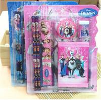 Wholesale Frozen Wallet Suit Children Stationery Set set Pencil ruler pencil sharpener eraser wallet Pink Blue