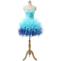 ball catches - Eye Catching Short th Grade Graduation Homecoming Prom Dresses Sweetheart Beaded Ruffles Organza Mini Junior Cheap Club Party Dress