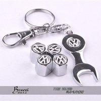 Wholesale Car Wheel Tire Valve Caps with Mini Wrench Keychain for VW Volkswagen Piece Pack