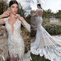 Cheap Berta 2015 Top Selling Sheer Neck Mermaid Wedding Dresses with Floral Embroidery Sexy backless Vestidos De Mariee Romantic Bridal Gown