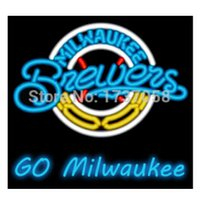 beer brewers - BREWERS GO MILWAUKEE NEON SIGN BEER BAR DISCO KTV PUB MOTEL HOTEL ADVERTISEMENT DISPLAY SIGN CUSTOM HANDCRAFTED REAL GLASS TUBE quot X15 quot
