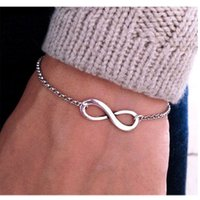 Wholesale New Hot Alloy Infinity Chain Bracelet Gold Silver Bronze Color Link Bangles Wristband Cuff Bracelet Infinity Bracelets