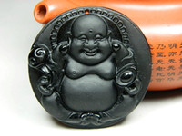Wholesale Christmas gift natural obsidian pendant Laughing Buddha Maitreya Buddha belly