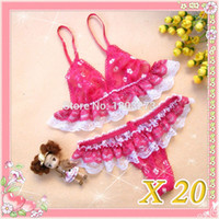 Wholesale 20pcs young girl Lacework lingerie underwear lace embroidered bikini women s sweety bra panty sets NK0601