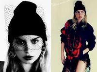 Wholesale Fashion Women Beanie Skull Caps Retro Sexy Gauze Veil Knit Crochet Winter Warm Beanie Hat Party Cool Cap colorful