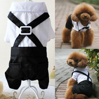 Wholesale Pet Dog Puppy Clothes Tuxedo Bowtie Shirt Suit Wedding Groom Outfit S M L XL XXL