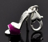 Wholesale Enamel High heeled Shoes Clip On Charm Fit Link Bracelet x13mm new