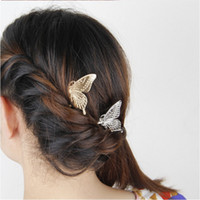 Wholesale Hair Jewelry Fashion Women Exquisite Brief Gold Silver Plated Alloy Butterfly Wedding Hair Combs SHR398