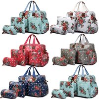 Wholesale 1 Set MISS LULU Women Flower Floral Oilcloth Mummy Mum Maternity Baby Diaper Nappy Changing Handbag Satchel Tote Hand Bag L1501F