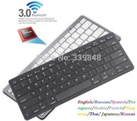 Wholesale Ultra slim Wireless Keyboard Bluetooth for English Russian Spanish Portuguese Arabic French Hungarian Thai Japanese Korean