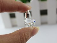 animal glass perfume bottles - 6MM Elephant Name On Rice vial pendant perfume glass bottle DIY wishing vials